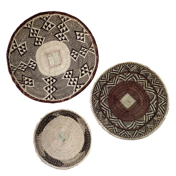 African Basket Group, 3 x Binga Baskets (Seconds) -  Wall Basket Set ZBB1G61
