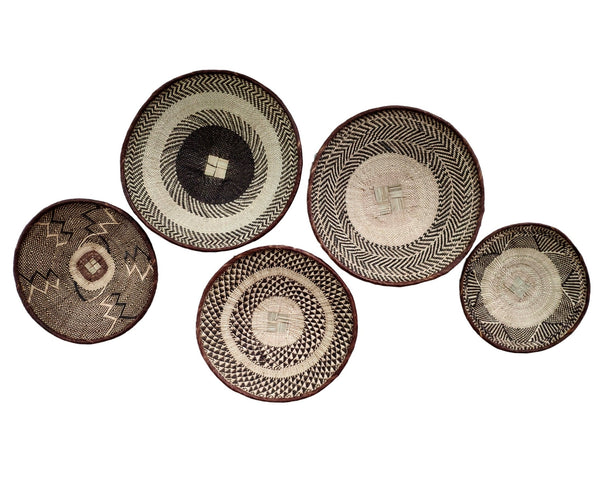 African Basket Group, 5 x Binga Baskets (Seconds)-  Wall Basket Set ZBB1G57