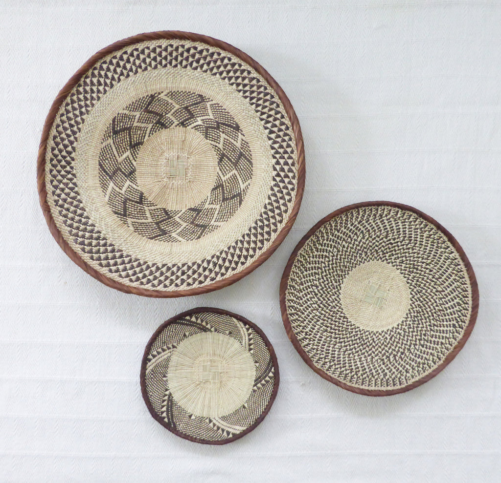 Group of 3 Binga Wall Baskets - African Wall Basket Group, Wall Basket Set ZB1G17