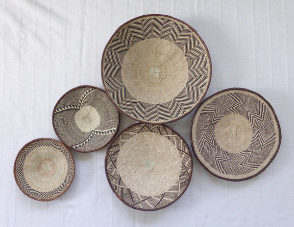 African Wall Basket Group, 5 x Binga Baskets -  Wall Basket Set ZB1G32