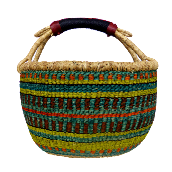 African Basket, Storage Basket, Bolga Basket, Woven Basket, Ethnic, Boho, Medium,  BABAMB105-15