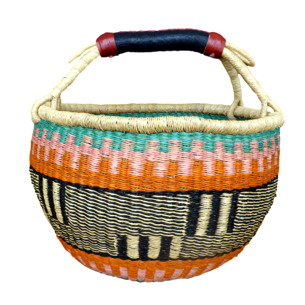 African Basket, Storage Basket, Bolga Basket, Woven Basket, Ethnic, Boho, Medium,  BABAMB107-15