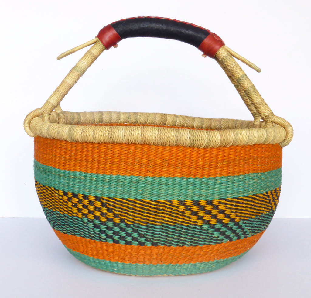 African Basket, Storage Basket, Bolga Basket, Woven Basket, Ethnic, Boho, Medium,  BABAMB116-15