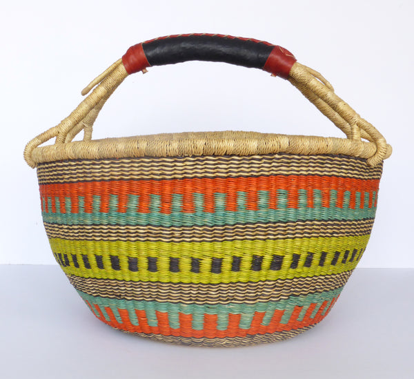 African Basket, Storage Basket, Bolga Basket, Woven Basket, Ethnic, Boho, Medium,  BABAMB117-15