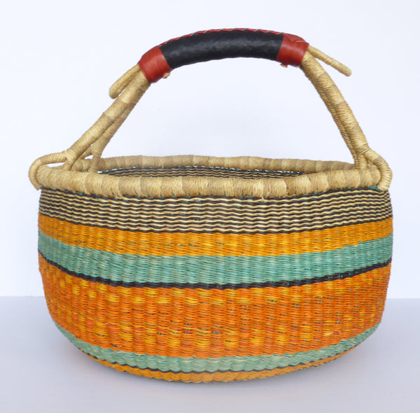 African Basket, Storage Basket, Bolga Basket, Woven Basket, Ethnic, Boho, Medium,  BABAMB118-15