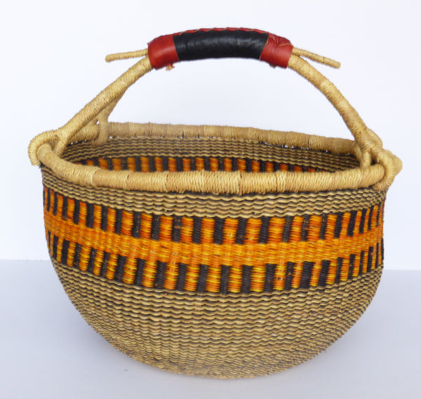 African Basket, Storage Basket, Bolga Basket, Woven Basket, Ethnic, Boho, Medium,  BABAMB119-14