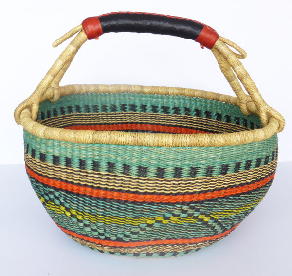 African Basket, Storage Basket, Bolga Basket, Woven Basket, Ethnic, Boho, Medium,  BABAMB121-16
