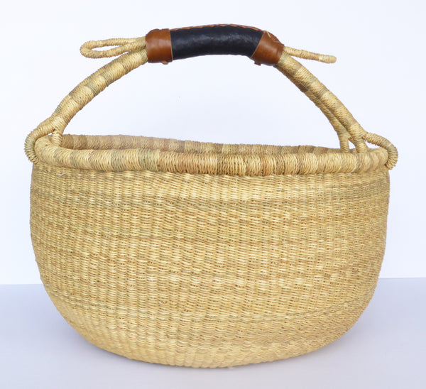 African Basket, Storage Basket, Bolga Basket, Woven Basket, Ethnic, Boho, Medium,  BABAMB123-16