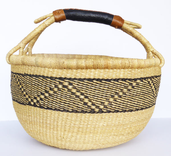 African Basket, Storage Basket, Bolga Basket, Woven Basket, Ethnic, Boho, Medium,  BABAMB124-16