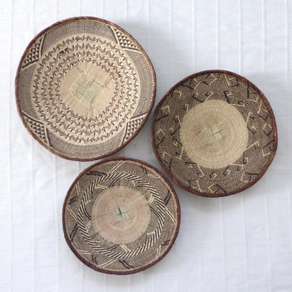 African Wall Basket Group, 3 x Binga Baskets -  Wall Basket Set ZB1G39