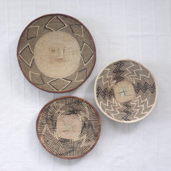 African Wall Basket Group, 3 x Binga Baskets -  Wall Basket Set ZB1G40