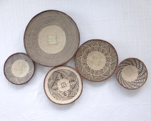 African Wall Basket Group, 5 x Binga Baskets -  Wall Basket Set ZB1G42