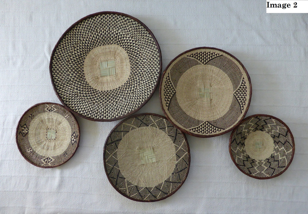 5 Basket Group for Rich - African Wall Baskets, Binga Basket ZB