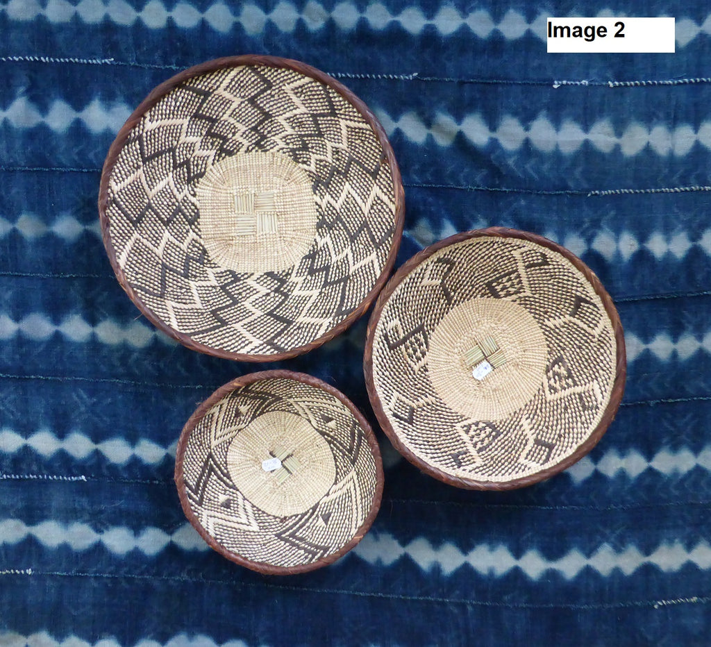 3 x Binga Baskets for Laura - African Wall Baskets, Binga Basket ZB