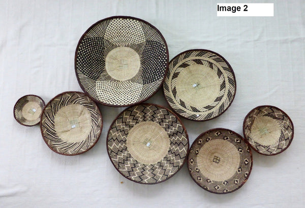 7 x Binga Baskets for Leanne - African Basket, Woven Basket, Eclectic Decor, Boho, Handmade, ZB