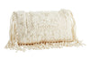 Madam Stoltz Cream Textured Macrame Knot Tassel cushion