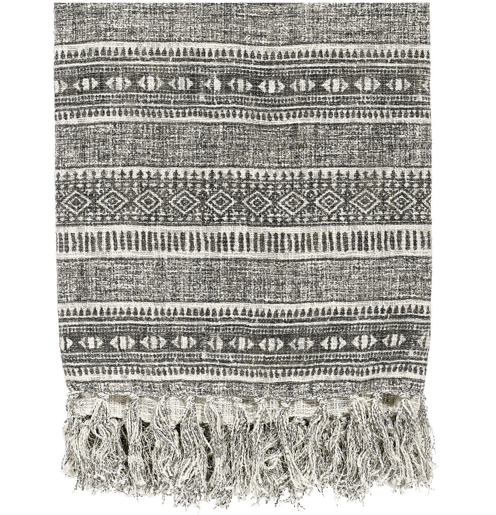 SALE - Nordal Ethnic Grey Print Blanket / Throw