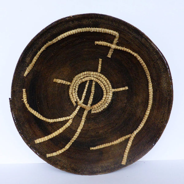 "Antique Zambian Makenge Basket 49.5cm (19 1/2"") - African Basket, Woven Basket, Wall Basket - Mak16"