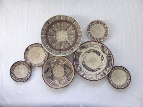 African Wall Basket Group, 7 x Binga Baskets -  Wall Basket Set ZB1G33