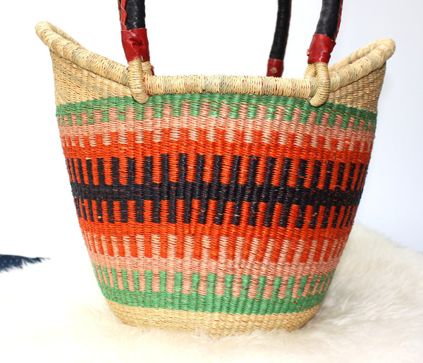 Ushopper Tote Bag, Medium, African Bolga Basket, BABANS12M