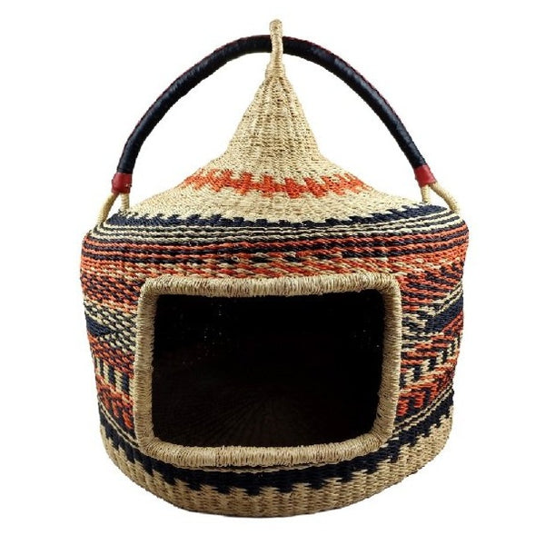 Turret Cat Basket - Bolga Basket, Pet Bed, Cat Bed - BABACat2