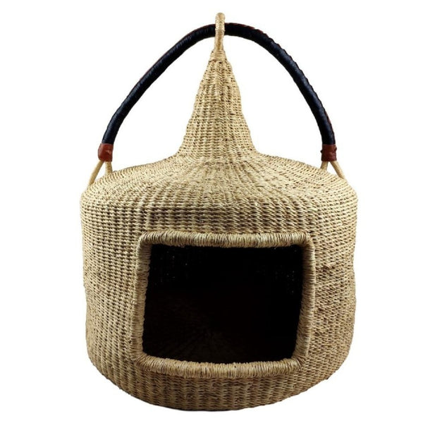 Turret Cat Basket - Bolga Basket, Pet Bed, Cat Bed - BABACat1