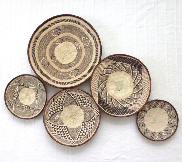 African Wall Basket Group, 5 x Binga Baskets -  Wall Basket Set ZB1G36