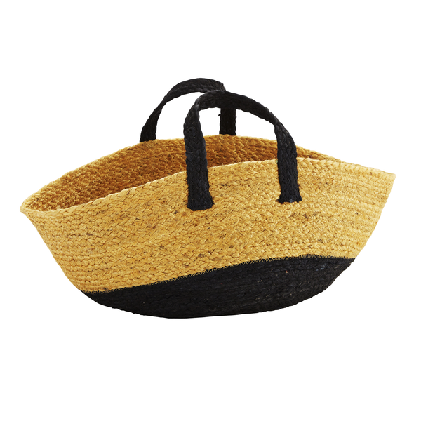 SALE -  Madam Stoltz - Yellow Black Hemp Bag with Handles, Beach Bag