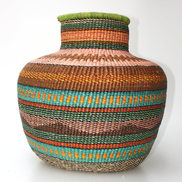 Jemima '10 Cows' - African Bolga Basket, Hand woven in Ghana, Gourd shaped basket, Ethnic, Boho, Eclectic, Jungalow  - BABA10Cows-15