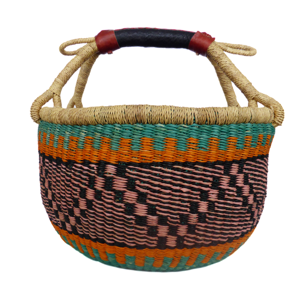 African Basket, Storage Basket, Bolga Basket, Woven Basket, Ethnic, Boho, Medium,  BABAMB103-14