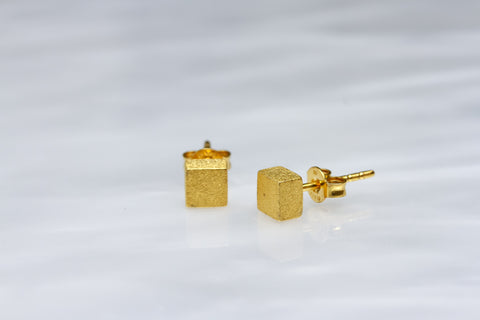 Gold Square Cube Earrings