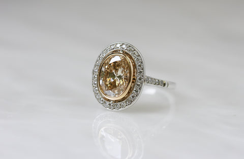 Single Stone Vintage Oval Diamond Ring