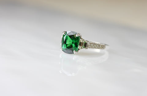 Green Tsvarite Diamond Ring