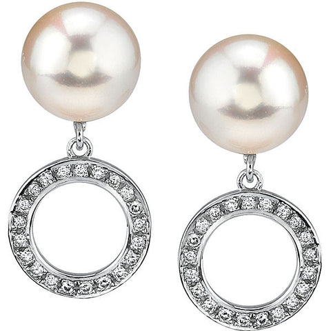 Schoeffel Pearl and Diamond Circle Earrings