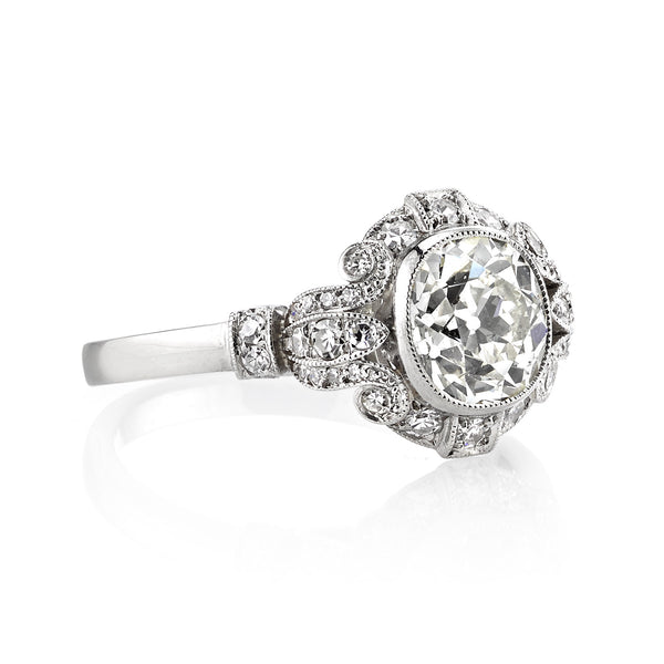 Vintage Cushion Cut Diamond Engagement Ring by Single Stone