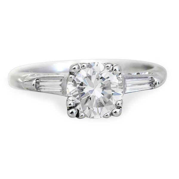 Harold Stevens Round Brilliant With Tapered Baguette Engagement Ring