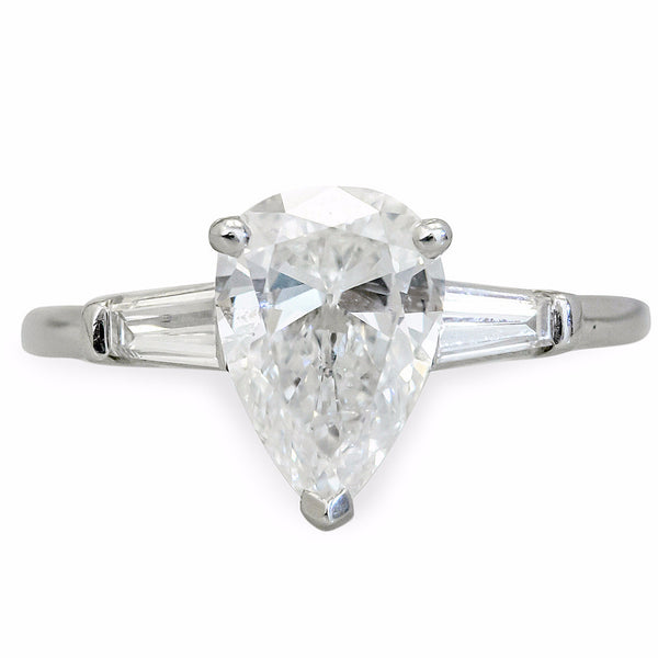 Classic Pear-Shaped Engagement Ring with Tapered Baguette Side Stones