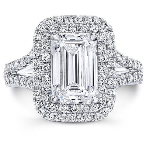 Double Halo Platinum Emerald Cut Engagement Ring