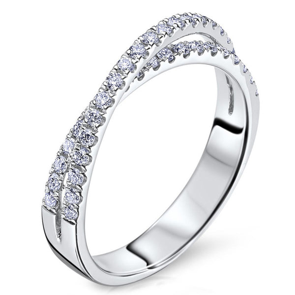 Scott Kay White Gold CrissCross Pave Diamond Ring