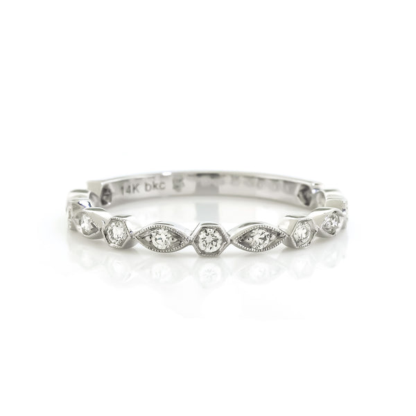 White Gold Vintage Inspired Diamond Wedding Band