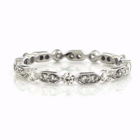 Eternity Style White Gold Vintage Inspired Diamond Wedding Band