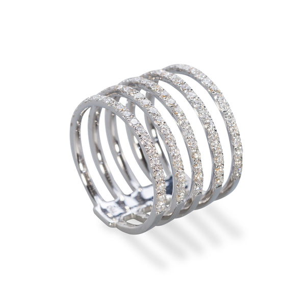White Gold 'Five Row' Diamond Pave Ring