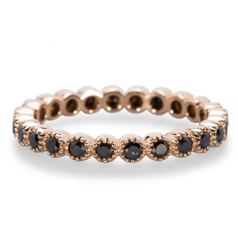 Rose Gold Black Diamond Eternity Band