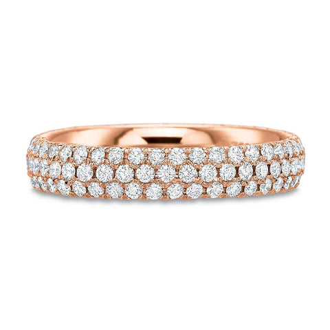 Three Row Micro-Pave Rose Gold Diamond Ring by Harold Stevens