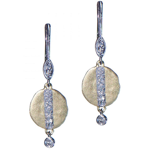 Gold Satin Finish Dangle Earrings with Diamonds