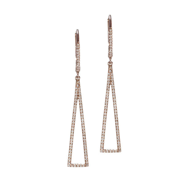rose gold triangle shape earrings with diamonds