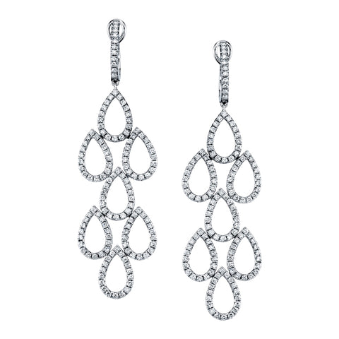 Open Circle Diamond Drop Earrings