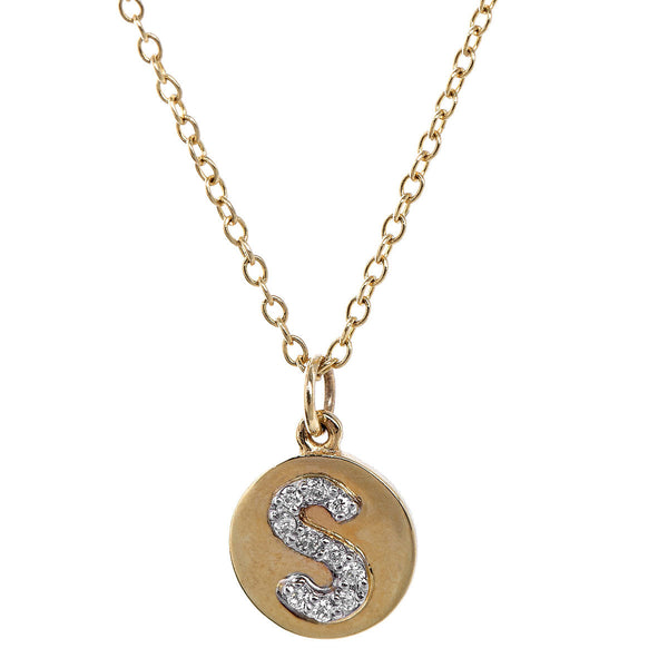 "Gold ""S"" Initial Pendant Necklace"
