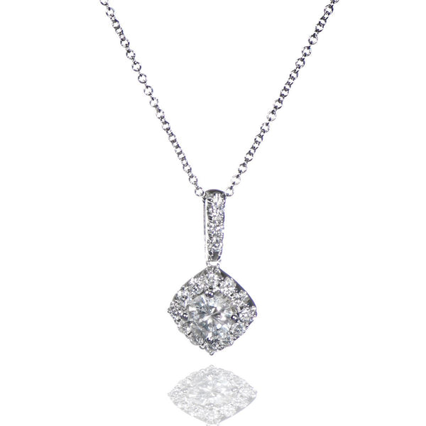 white gold cable link diamond pendant necklace