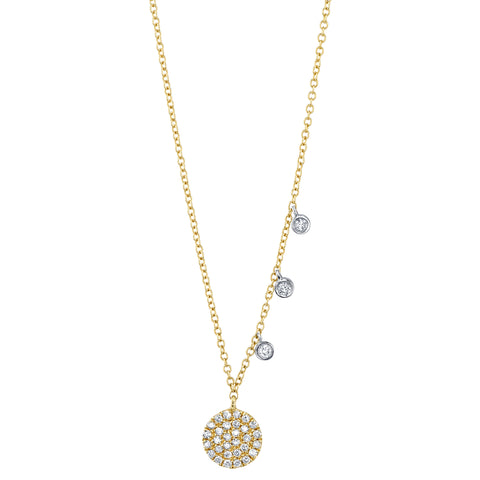 Diamond Pave Disc Pendant Necklace